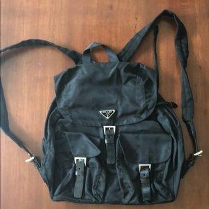 Prada Vela Black Large Two-Pocket Backpack